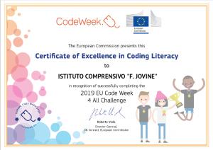 Certificato di eccellenza Codeweek