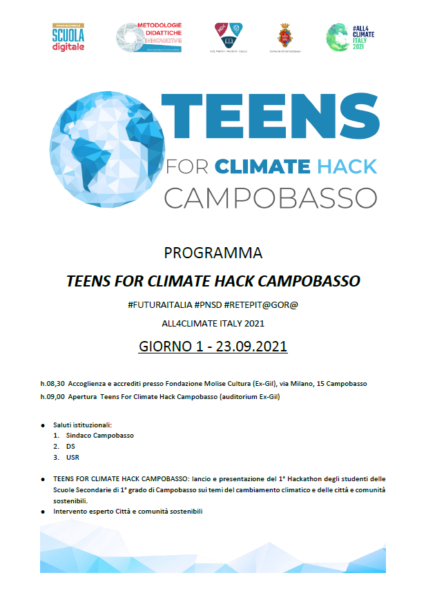 TEENS FOR CLIMATE HACK – CAMPOBASSO